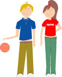 Camp Kids. Sporty boy with basketball and girl with stylish t-shirt stock illustration