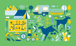 Camp life composition. Panoramic composition with camping and outdoor activities symbols Royalty Free Stock Image