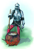 Camp life knight. Cooking on fire. Camp life knight. cooking on the fire. spoon and armor Royalty Free Stock Photo