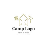 Camp logo. Minimal illustration for a camping company logo that combine a tent and a deer in one line showing the link between human and nature Stock Images