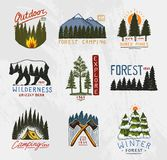 Camp logo, mountains coniferous forest and wooden badges. engraved hand drawn in old vintage sketch. emblem tent tourist vector illustration