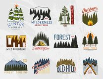 Camp logo, mountains coniferous forest and wooden badges. engraved hand drawn in old vintage sketch. emblem tent tourist. Travel for labels. outdoor adventure stock illustration