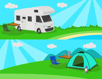 Camp on the meadow. Caravan car and tent. Vector illustration vector illustration