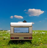 Camp mobile on a meadow Royalty Free Stock Photography
