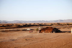 Camp in Morocco. Some nomads are camping in the desert of Morocco Royalty Free Stock Images