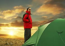 Camp in mountain stock image
