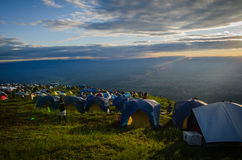 Camp on mountain. In Thailand Stock Photo