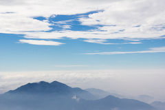 Camp on the mountain. Atop the filled clouds. Look comfortable Stock Photography
