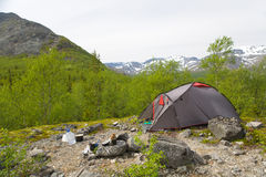 Camp at mountains Stock Photos