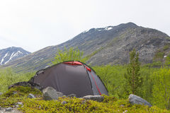 Camp at mountains Stock Photo
