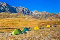 Camp in the mountains in autumn Stock Images