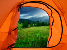 Camp in mountains Royalty Free Stock Photography