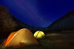 Camp in the mountains Royalty Free Stock Image