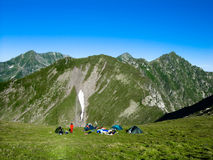 Camp on mountains (Romania) Stock Photos