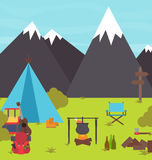Camp in the mountains  Stock Images