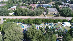Camp 5. Music festival  EXIT  camp and Chinese Quarter in Novi Sad, by Drone shooting. EU culture city 2021 Stock Photo