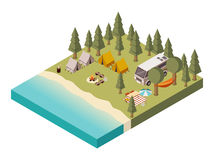 Camp Near Lake Isometric Illustration. Camp near lake with van tents and bonfire umbrella table and chairs picnic baskets isometric vector illustration stock illustration