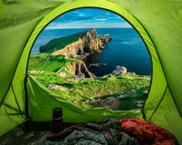 Camp at Neist point lighthouse in Isle of Skye, Scotland. Europe Stock Image