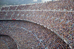 Camp Nou. BARCELONA, SPAIN – AUGUST 18: A sold out Barcelona football stadium Camp Nou during the match between FC Barcelona and FC Levante on August 18, 2013 Stock Image
