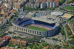 Camp Nou från luften: FC Barcelona Arkivbilder