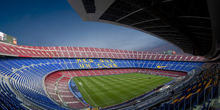 Camp Nou Stadium in Barcelona (Panorama) stock images