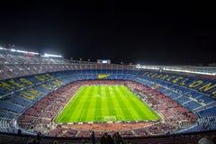 Camp Nou stadium before Champions League. BARCELONA - DECEMBER 10: View of Camp Nou stadium before the Champions League match between FC Barcelona and PSG, final royalty free stock photos