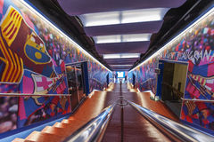 Camp Nou Tunnel. Stadium tunnel, leading players on to the ground. Camp Nou. Barcelona, Spain royalty free stock images