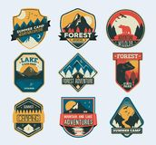 Camp Patches. Badge for forest camping, exploration camp, tourism extreme sport club. Set of isolated badges with mountain peaks and forest camp. Wild travel royalty free illustration