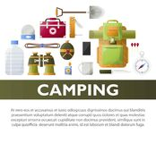 Camp poster of vector camping tools. Camp poster of camping tools and scout hiking or mountaineering adventure. Vector backpack with spade, binoculars or water Stock Photography