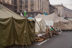 Camp of protesters on Maidan, Euromaidan, Kiev Stock Photography