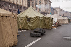Camp of protesters on Maidan, Euromaidan, Kiev Stock Photos