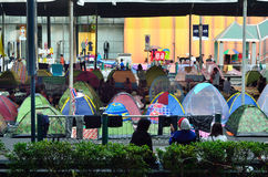 Camp for protesters at Ratchaprasong Intersection to anti government and ask to reform before election Stock Image