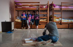 The camp for refugee children from Donbass Stock Photo