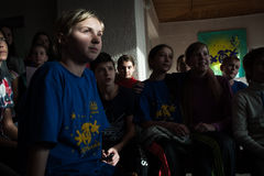 The camp for refugee children from Donbass Stock Photography
