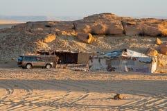 Camp in Sahara desert in Egypt stock images
