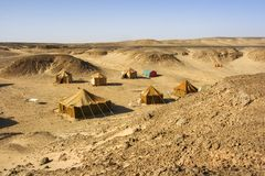 Camp in Sahara desert Royalty Free Stock Photo