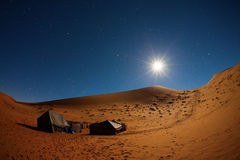 Camp in Sahara Desert in night with moon. As star and moving stars stock images