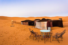 Camp in the Sahara. Tent camp in the sahara royalty free stock photos