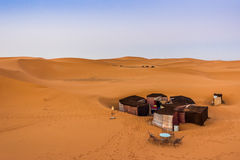 Camp in the Sahara. A tent camp in the sahara desert royalty free stock photography