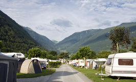 Camp site in Alps. A camp site in the Rhone valley (Valais), Martigny, Switzerland stock image