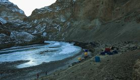 Camp site during Chadar trek Royalty Free Stock Photography