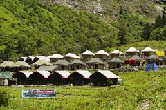 Camp site near Ghangaria, a small village on the way to Hemkund Sahib, Uttarakhand. India royalty free stock images