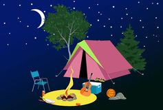 Camp site at night. Camping site at night with a tent, campfire, tourist gear, guitar and volleyball, EPS 8 vector illustration, no transparencies, no mesh Stock Photo