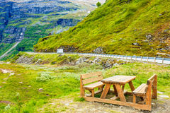 Camp site with picnic table in norwegian mountains Royalty Free Stock Images