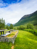 Camp site with picnic table in norwegian mountains Royalty Free Stock Photos