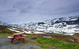 Camp site with picnic table in norwegian mountains Stock Image