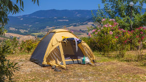 Camp site tent Valley Stock Photo