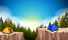 Camp site with two tents on the cliff Stock Images