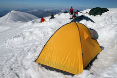 Camp on snow. Camp in high mountains. Mt. Blanc Royalty Free Stock Photo