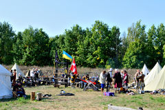 Camp soldiers. preparation. International Championship on the historical medieval battle Call of heroes. It passes near Kiev, in the village of Kopachev, Ukraine Royalty Free Stock Photography